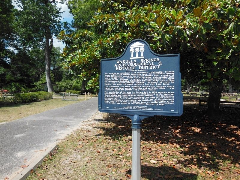 Wakulla Springs Archaeological & Historic District Marker (<b><i>wide view</b></i>) image. Click for full size.