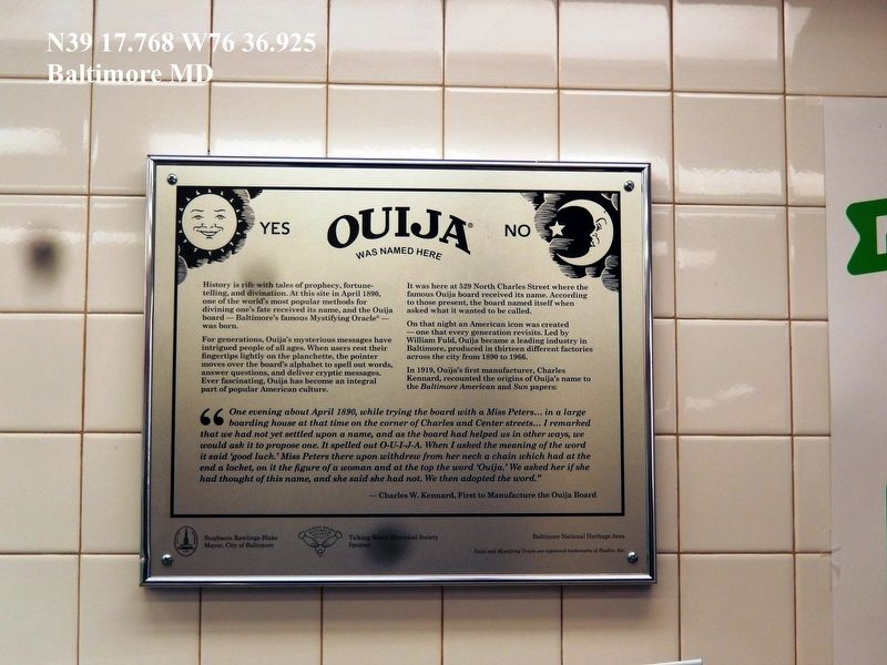 Ouija Historic Marker-529 North Charles Street-Baltimore MD image. Click for full size.