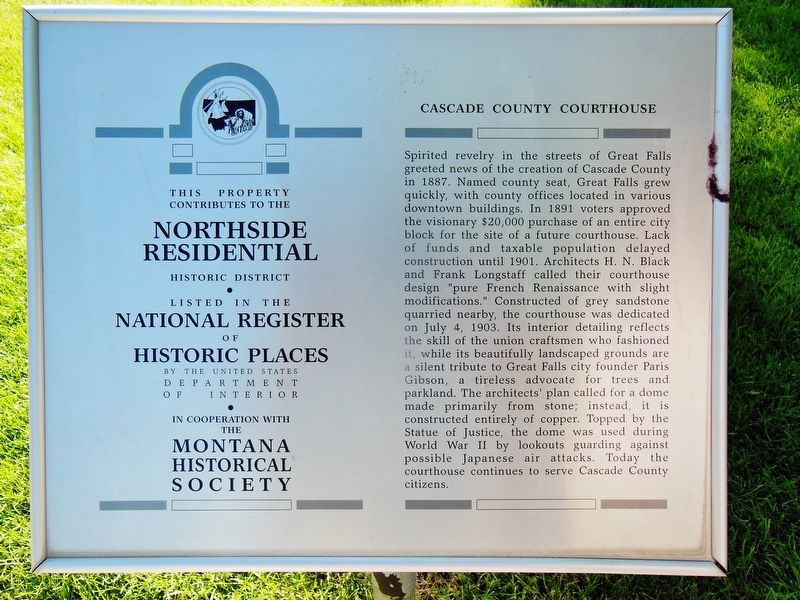 Cascade County Courthouse Marker image. Click for full size.