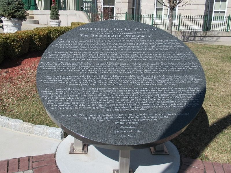 David Ruggles Freedom Courtyard Marker image. Click for full size.