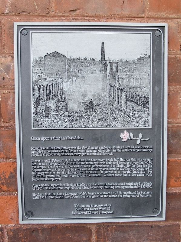 Hopkins & Allen Gun Factory Marker image. Click for full size.