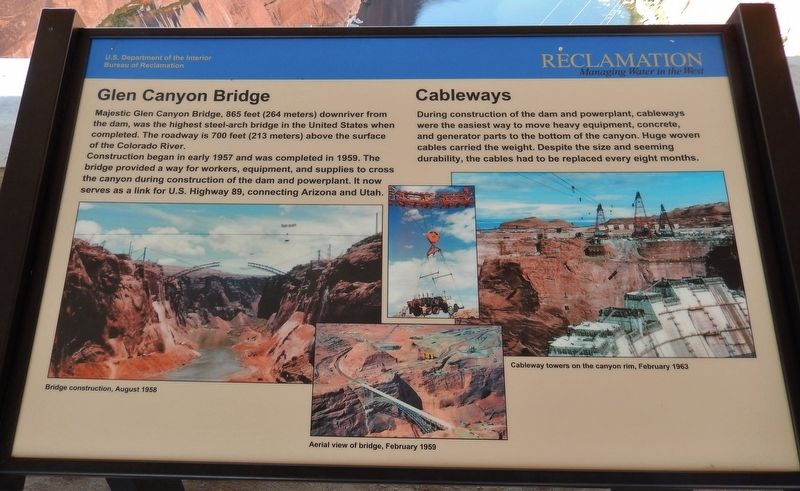 Glen Canyon Bridge / Cableways Marker image. Click for full size.