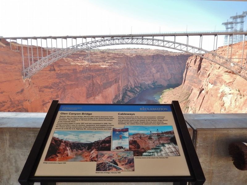 Glen Canyon Bridge / Cableways Marker (<b><i>wide view, bridge in background</b></i>) image. Click for full size.