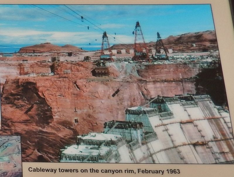 Marker detail: Cableway Towers on the Canyon Rim, February 1963 image. Click for full size.