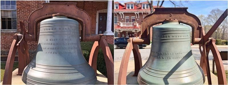 Front and rear of Thrasher Hall bell. image. Click for full size.
