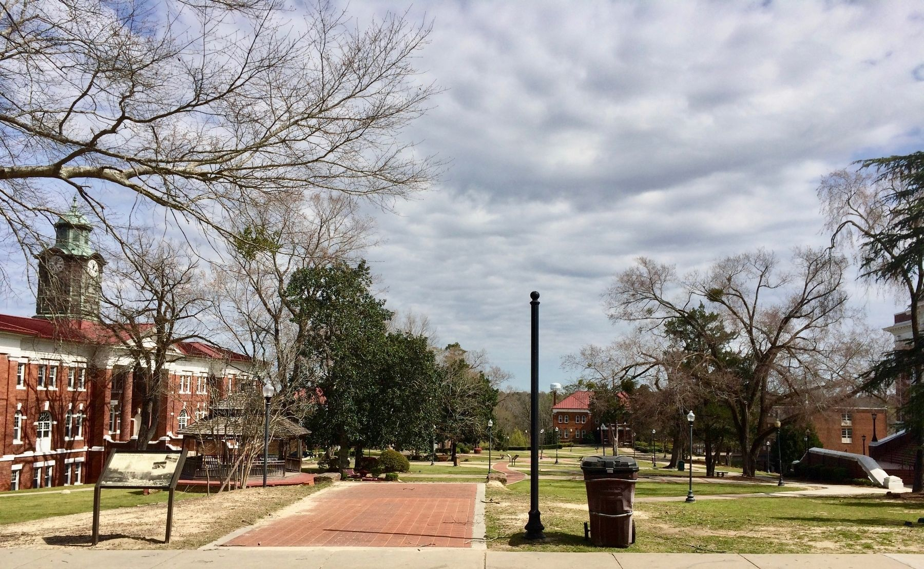 Campus quadrangle with White Hall on left. image. Click for full size.