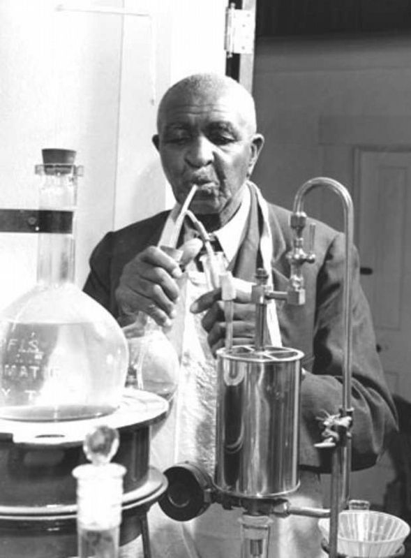 George Washington Carver at work in his laboratory. image. Click for full size.