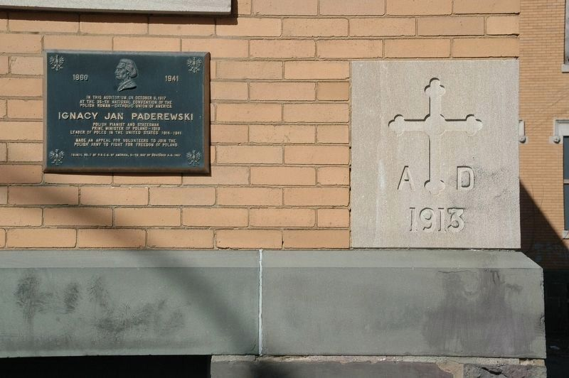 Ignacy Jan Paderewski Marker & St. Mary's School 1913 Cornerstone image. Click for full size.
