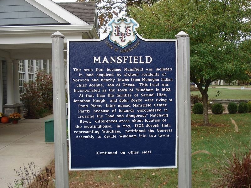 Mansfield Marker (Front) image. Click for full size.
