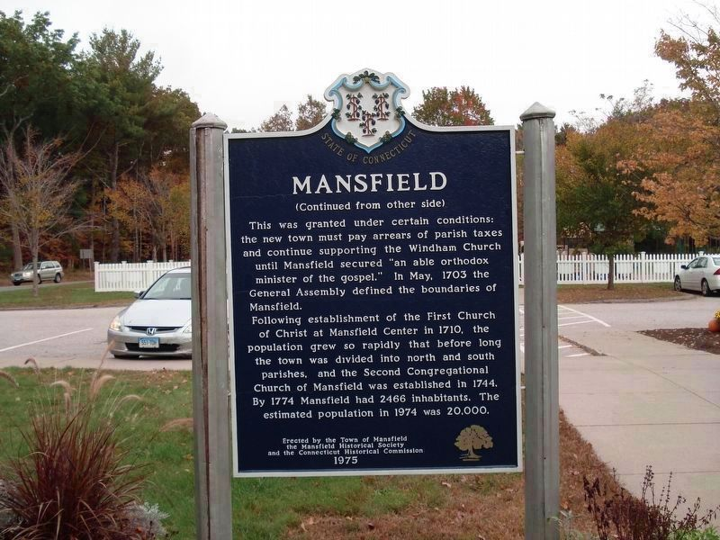 Mansfield Marker (Back) image. Click for full size.