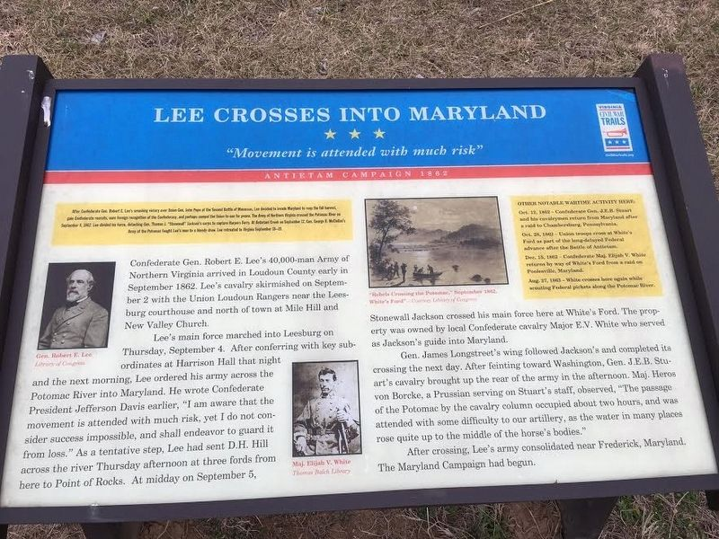 Lee Crosses Into Maryland Marker image. Click for full size.
