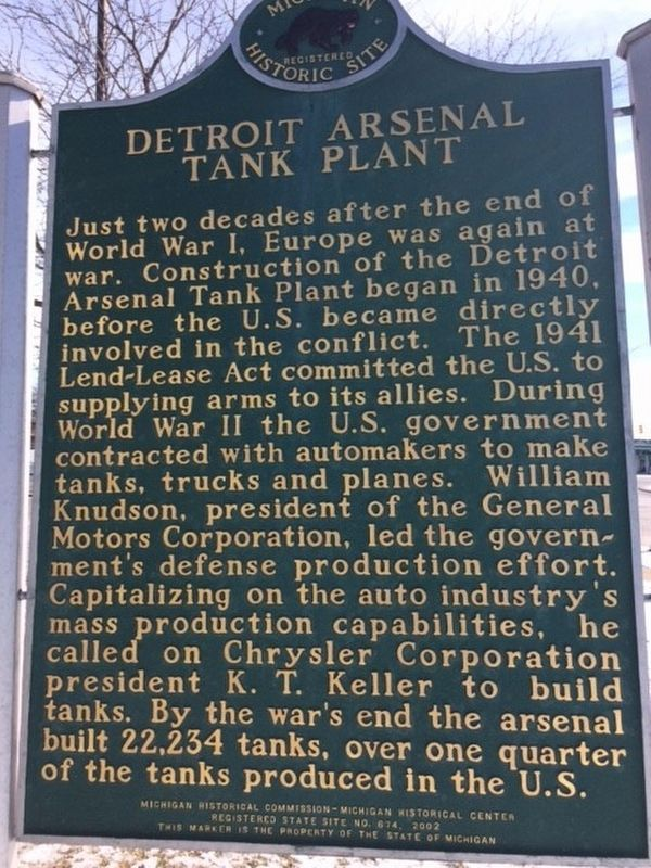 Detroit Arsenal Tank Plant Marker image. Click for full size.