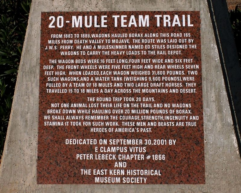 20-Mule Team Trail Marker image. Click for full size.