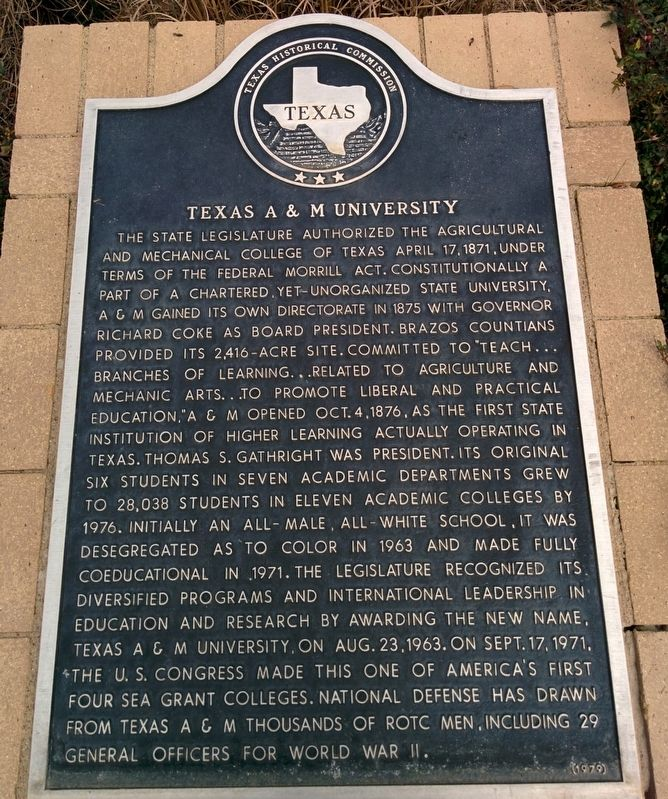 Texas A&M University Marker image. Click for full size.