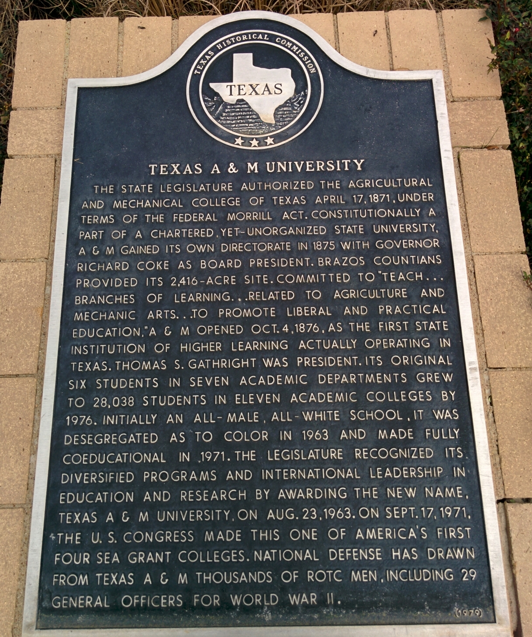 Texas A&M University Marker