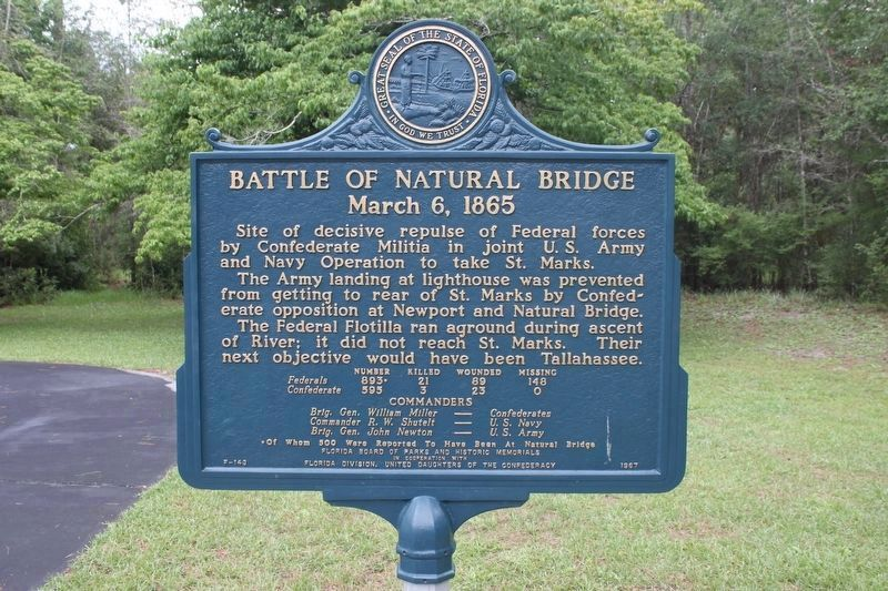 Battle of Natural Bridge Marker image. Click for full size.