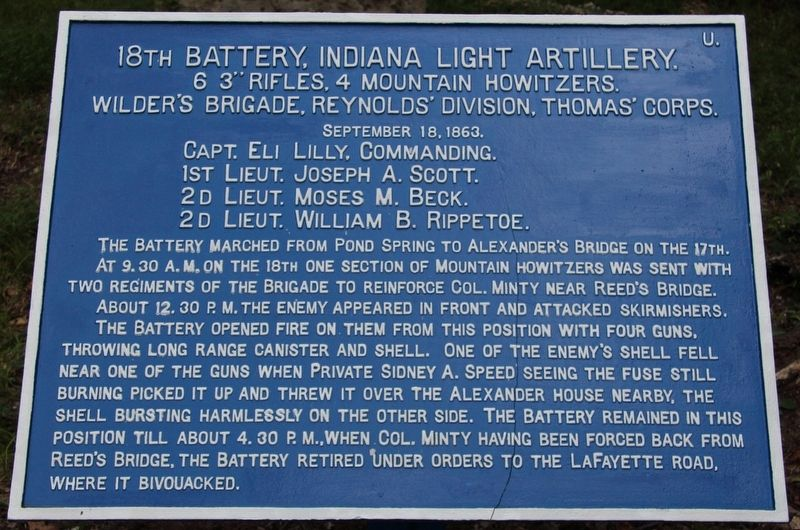 18th Indiana Battery Marker image. Click for full size.