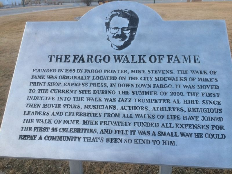 The Fargo Walk of Fame Marker image. Click for full size.
