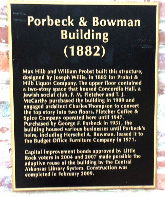 Porbeck & Bowman Building Marker image. Click for full size.
