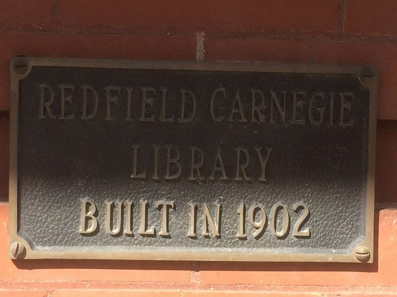 Redfield Carnegie Library Dedication Plate image. Click for full size.