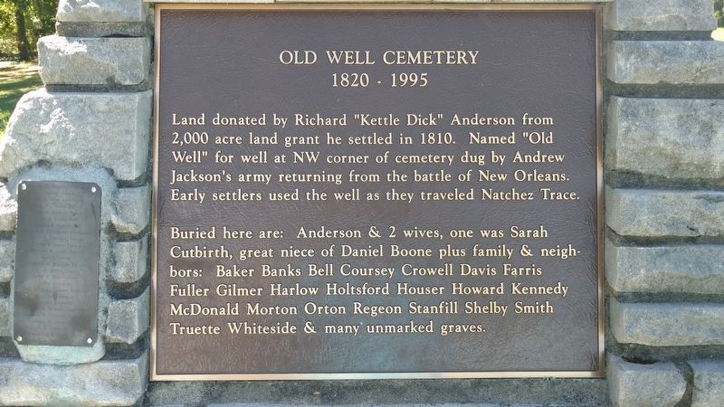 Old Well Cemetery Marker image. Click for full size.