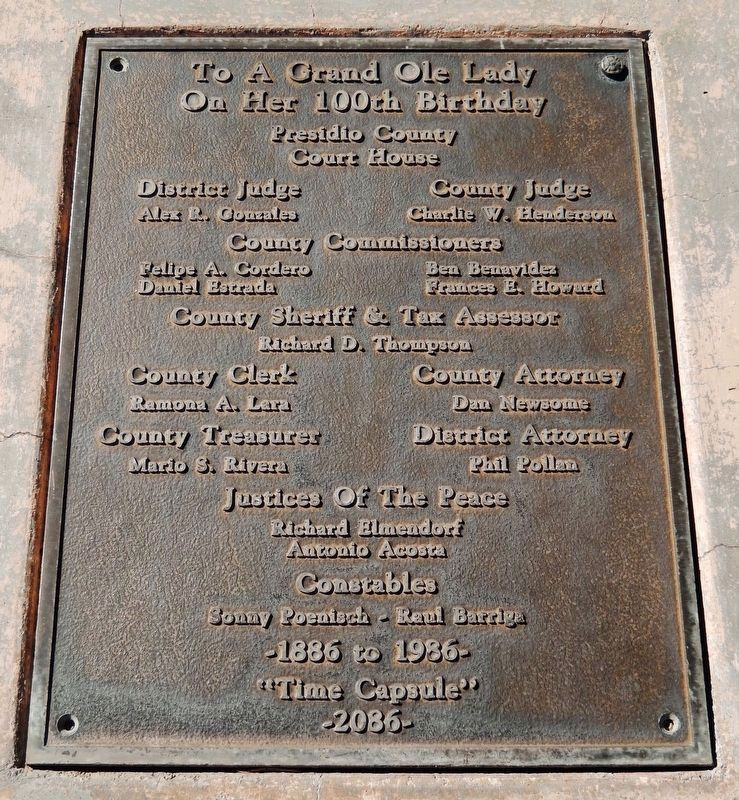 Presidio County Courthouse Centennial Marker (<b><i>detail</b></i>) image. Click for full size.