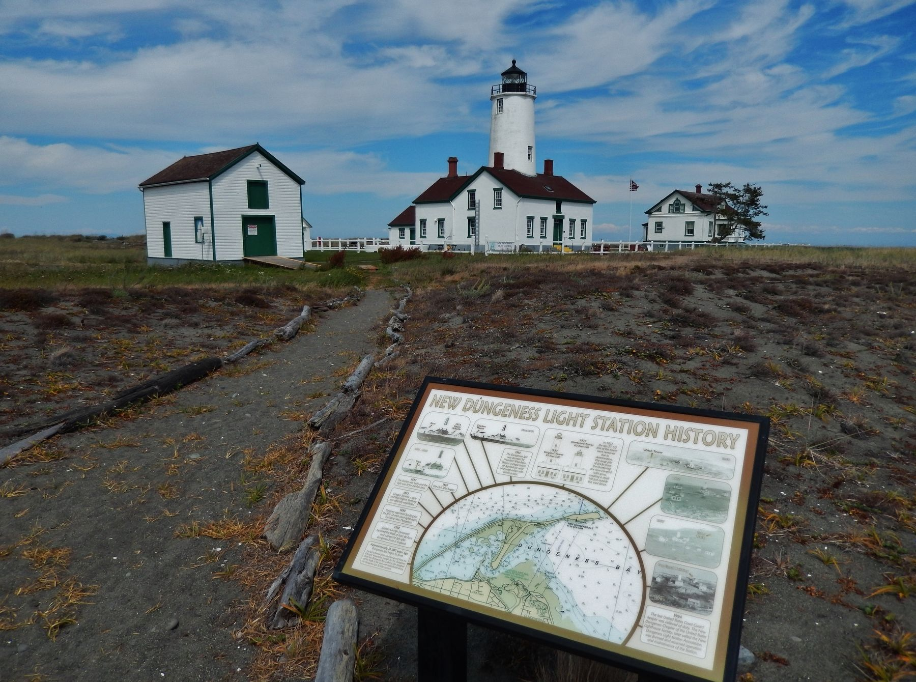 New Dungeness Light Station History Marker (<b><i>wide view</b></i>) image. Click for full size.