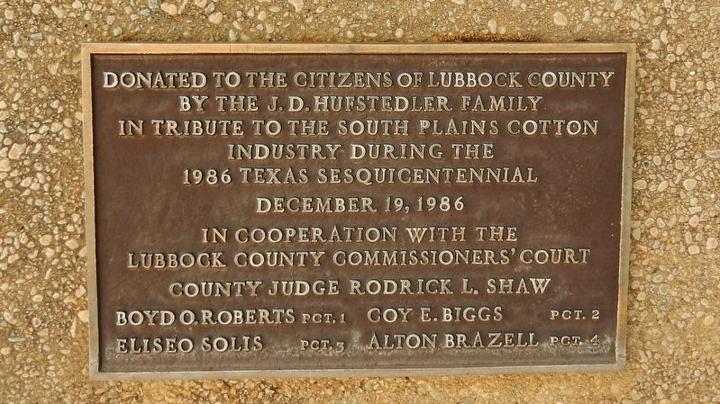 A Tribute to Cotton Dedication Placard (<b><i>back side of monument</i></b>) image. Click for full size.
