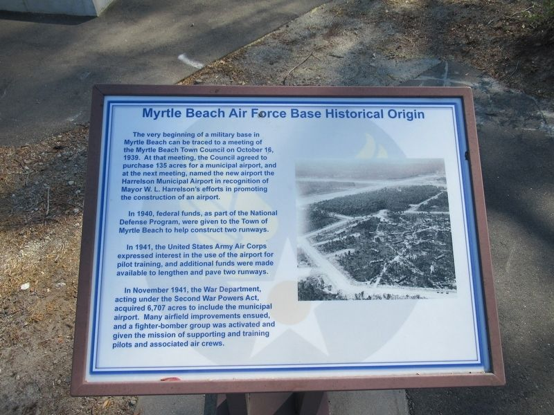 Myrtle Beach Air Force Base Historical Origin Marker image. Click for full size.