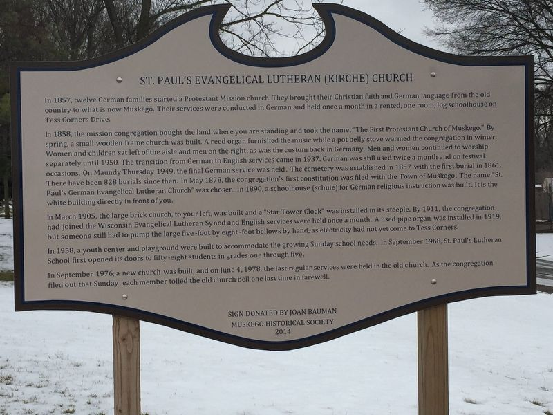St. Paul's Evangelical Lutheran (Kirche) Church Marker image. Click for full size.