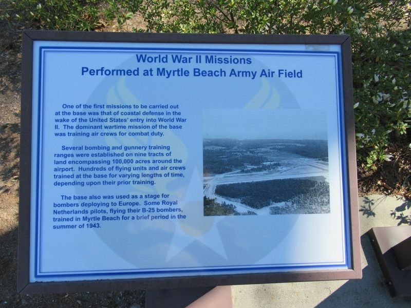 World War II Missions Performed at Myrtle Beach Army Air Field Marker image. Click for full size.
