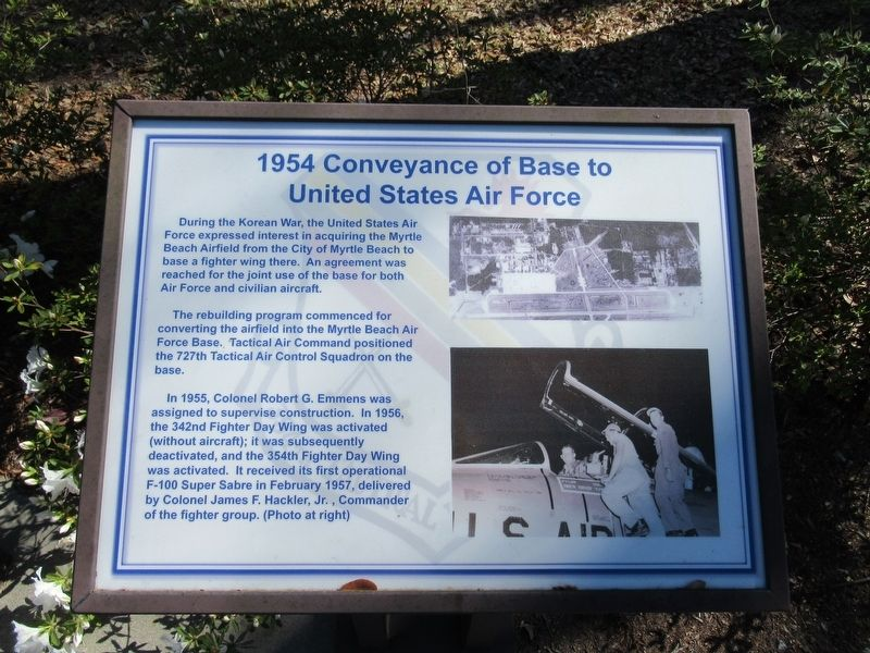1954 Conveyance of Base to United States Air Force Marker image. Click for full size.
