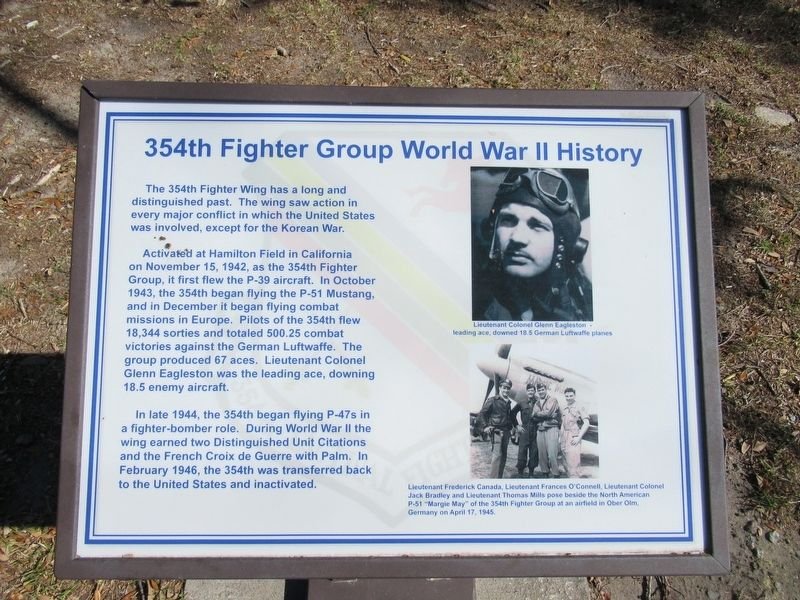 354th Fighter Group World War II History Marker image. Click for full size.