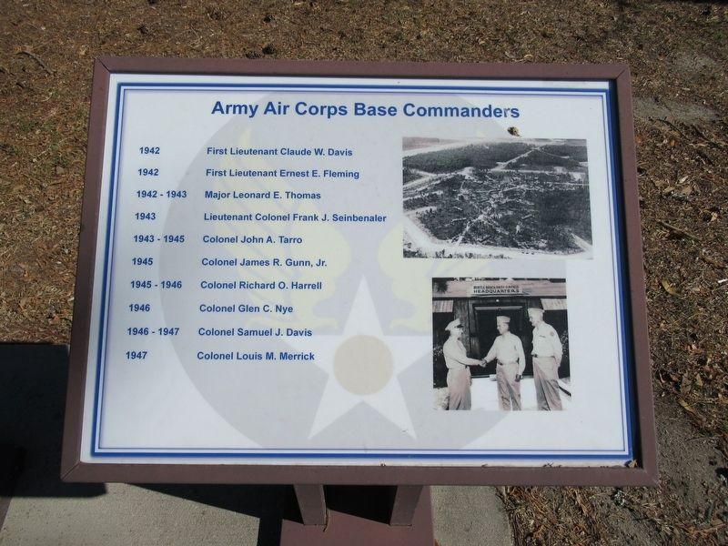 Army Air Corps Base Commanders Marker image. Click for full size.
