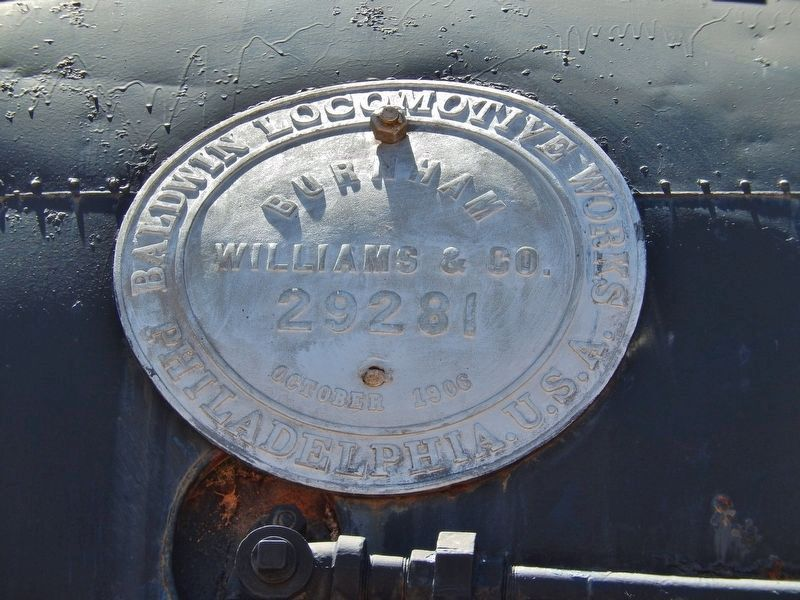 Engine 1809 (<b><i>boiler label</b></i>) image. Click for full size.