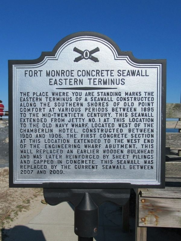 Fort Monroe Concrete Seawall Eastern Terminus Marker image. Click for full size.