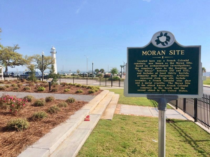 Moran Site Marker in new location, inside garden at Biloxi Visitors Center. image. Click for full size.