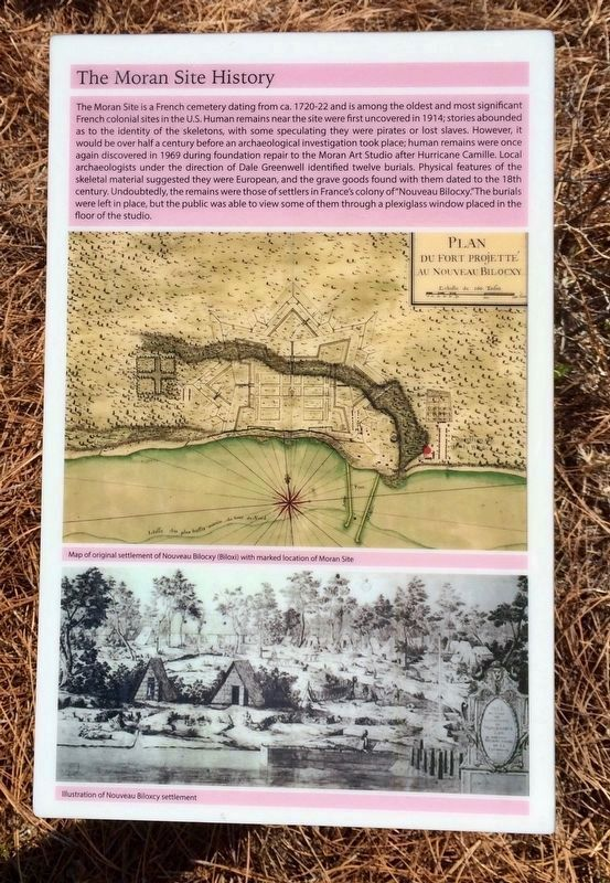 A nearby sign, in the memorial garden, providing more information about the Moran Site. image. Click for full size.
