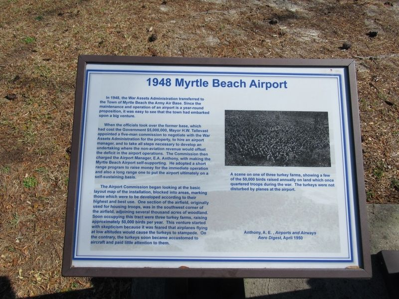 1948 Myrtle Beach Airport Marker image. Click for full size.