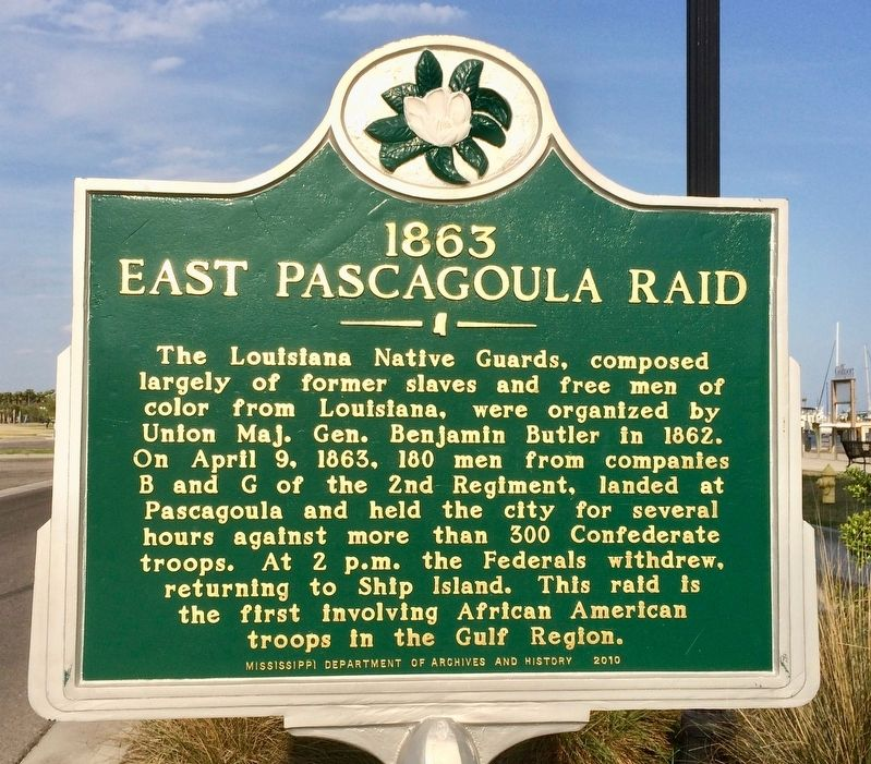 1863 East Pascagoula Raid Marker image. Click for full size.