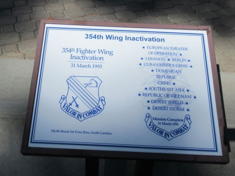 354th Wing Inactivation Marker image. Click for full size.