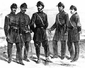 Officers of Company C of the 1st Louisiana Native Guard at Fort Macomb, Louisiana. image. Click for full size.