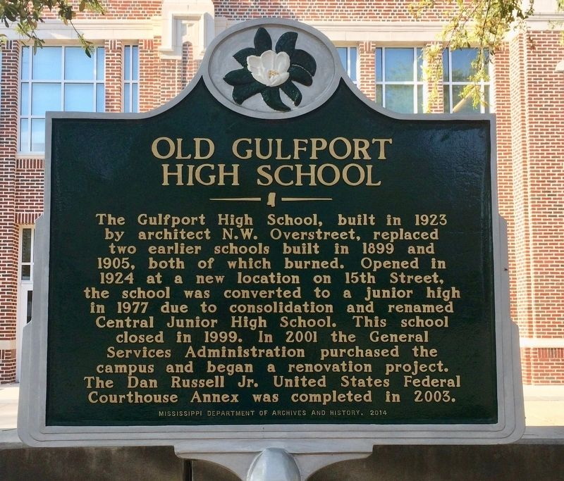 Old Gulfport High School Marker image. Click for full size.