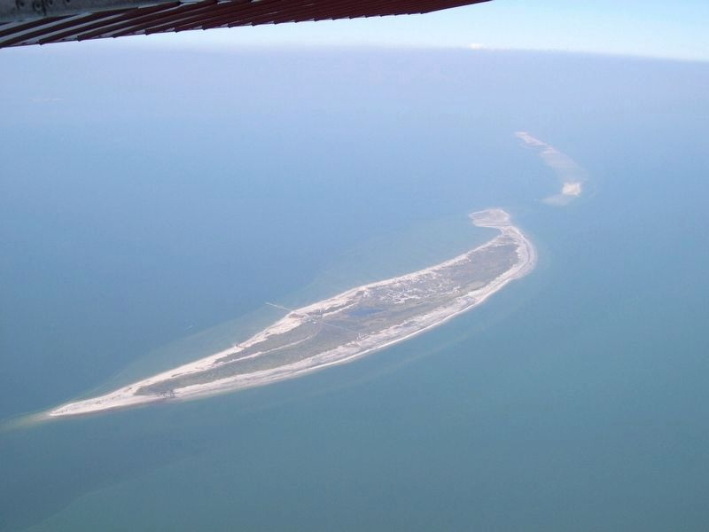 Aerial view of Ship Island in the Gulf of Mexico. image. Click for full size.