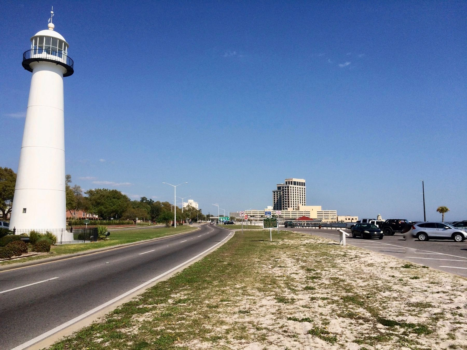 Biloxi Lighthouse, in median, with marker south side of Beach Boulevard. image. Click for full size.