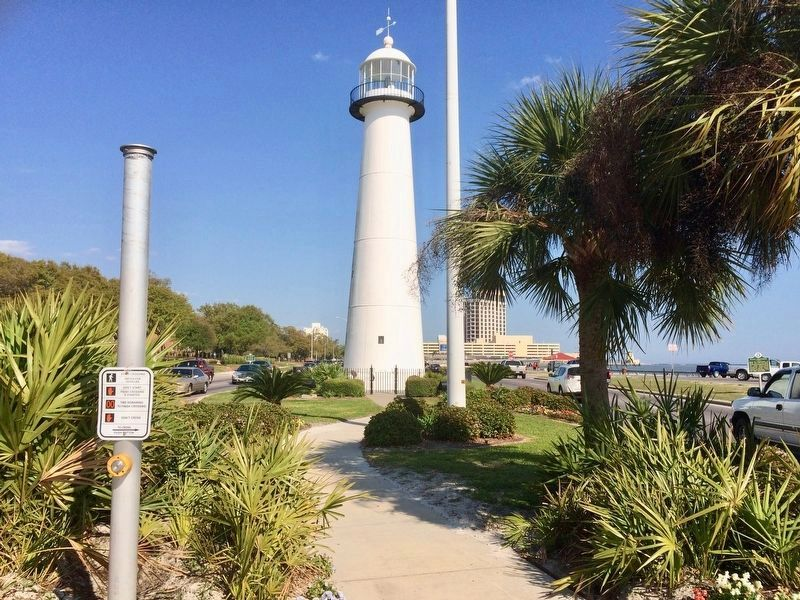 Biloxi Lighthouse with only one metal plaque & a Biloxi Landmark plaque. image. Click for full size.