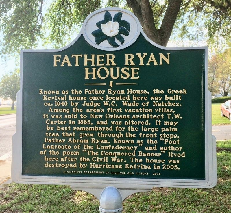 Father Ryan House Marker (Front) image. Click for full size.