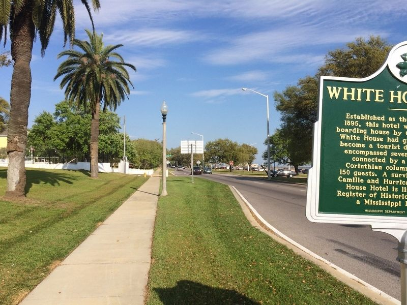 View of White House Hotel Marker looking east on Beach Boulevard. image. Click for full size.