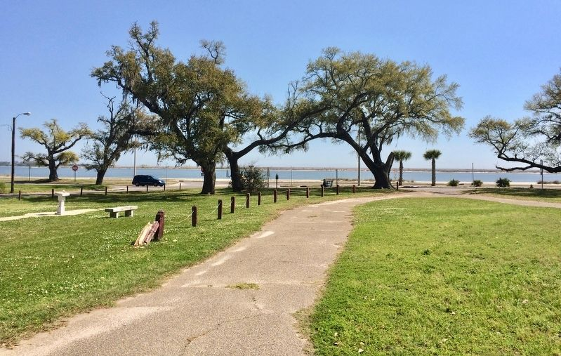 View from the former location of the church towards marker and Gulf of Mexico. image. Click for full size.
