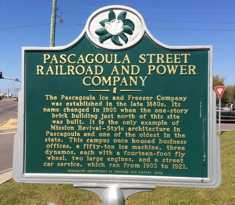 Pascagoula Street Railroad and Power Company Marker image. Click for full size.
